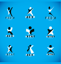 Joyful abstract individual with arms reaching up vector
