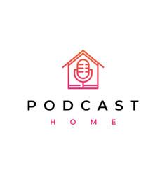 line art mic podcast house home logo design icon vector image