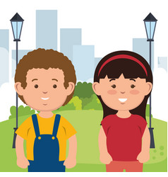 little kids on park characters vector image