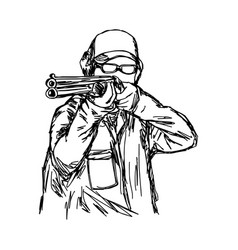 man shooting double barrel shotgun vector image