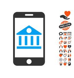 mobile bank icon with valentine bonus vector image vector image