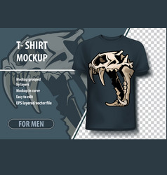 Mockup template for print lion skull layout as an vector