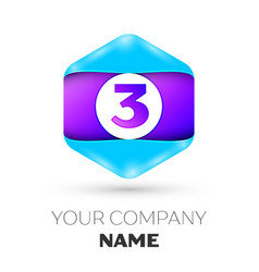 Number three symbol in colorful hexagonal vector