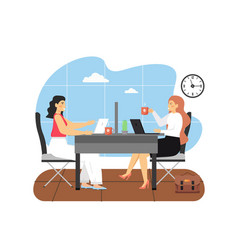 office scene with modern workplace two women vector image