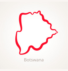 Outline map of botswana marked with red line vector