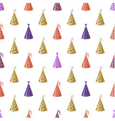 party caps seamless pattern bright multicolor vector image