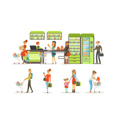 people shopping in a mall collection customers vector image