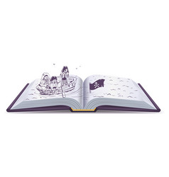pirates in boat sinking ship open book of vector image