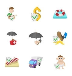 Protection icons set cartoon style vector image