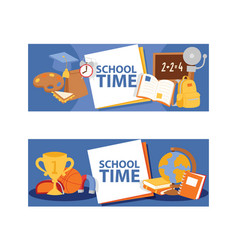 School items banner vetor learning essentials vector
