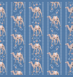 seamless pattern with camels and oriental vector image