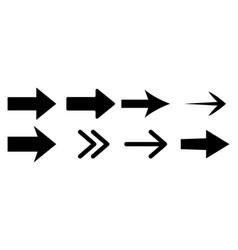 set arrow icons black arrows isolated vector image