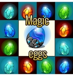 Set of magic set dragon eggs with backlight vector