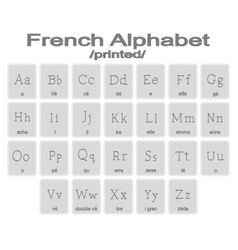 set of monochrome icons with french alphabet vector image