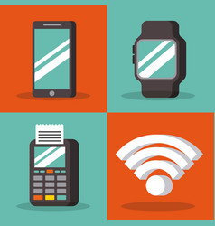 set of payment with nfc icons contactless vector image