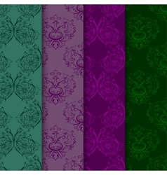 Set of seamless with damask elements vector image