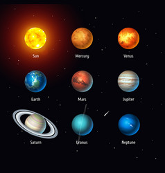 Set of solar system objects sun and vector