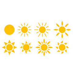set sun icons sunlight rays vector image