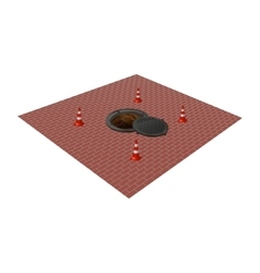 Sewer manhole tunnel pit hole vector