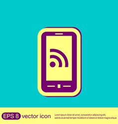 smartphone with the symbol rss vector image