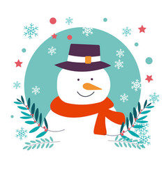 snowman character of christmas winter holiday and vector image
