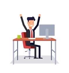 Successful businessman sitting in a chair at a vector