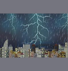 thunderstorm night urban scene vector image