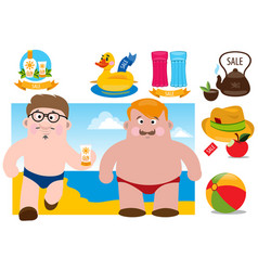 two men on the beach for design beach theme vector image