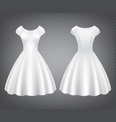 White retro woman dress for wedding or party vector