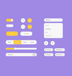 white ui kit set flat design ui kit vector image