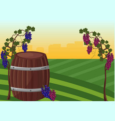 wine barrel and grapes background vector image