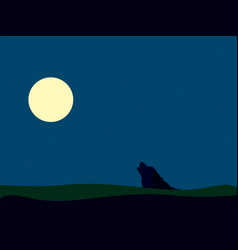 Wolf on moon on white background vector