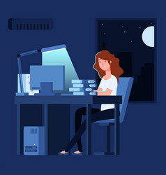 Woman working at night unhappy stressed female vector