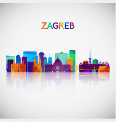 zagreb skyline silhouette in colorful geometric vector image