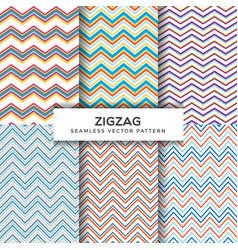 zigzag seamless patterns vector image