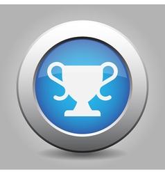 Blue metallic button white sports cup icon vector