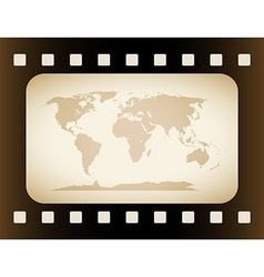 Earth Map in film Frame vector image vector image
