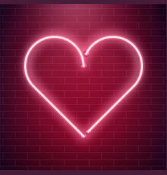 neon heart sign red fluorescent light vector image