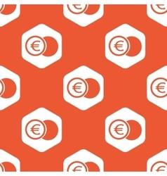 Orange hexagon euro coin pattern vector image vector image