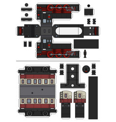 paper model of a vintage steam train vector image
