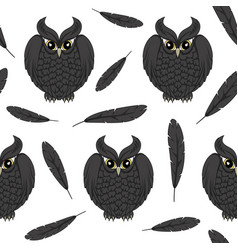 seamless pattern with black owls and and feathers vector image vector image