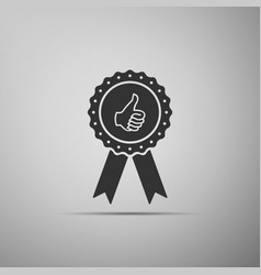 thumbs up on medal badge with ribbons icon vector image vector image