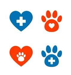 veterinarian icons set vector image vector image