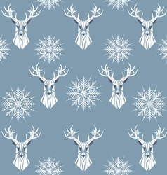 Winter seamless pattern with deer and snowflakes vector image