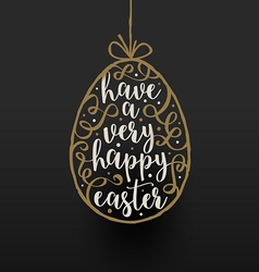 Easter egg with calligraphic type design vector image vector image