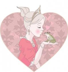 princess kissing frog vector image