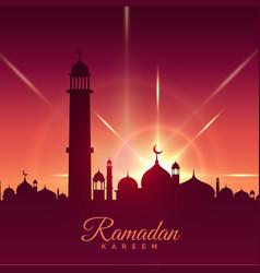ramadan kareem season greeting with mosque and vector image vector image