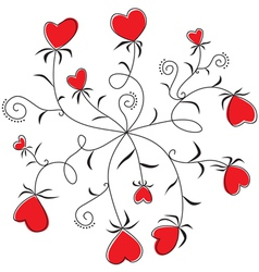 Round Dance flowers hearts vector image vector image