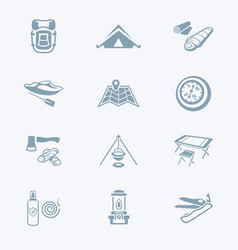 camping icons - tech series vector image