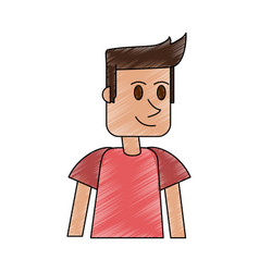 color pencil cartoon front view half body guy with vector image